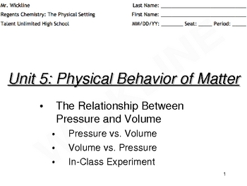 Relationship of Pressure and Volume (Boyle's Law)