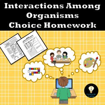 Relationships Among Organisms Choice Homework