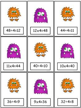 Relationships Between Multiplication and Division Flash Cards