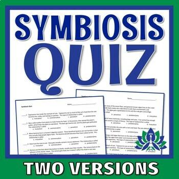 Relationships Between Organisms Quiz NGSS MS-LS2-2