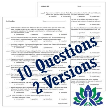 Ecosystems: Symbiosis Relationships Between Organisms Quiz NGSS MS-LS2-2