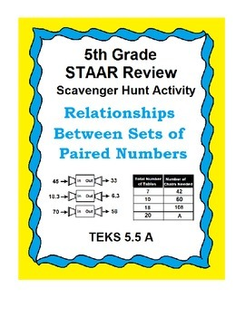 Relationships Between Paired Numbers  TEKS 5.5A  STAAR Review