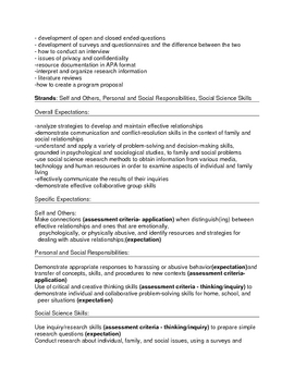 Relationships Culminating Assignment Grade 9 or 10