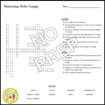 Relationships Within Triangles Crossword Puzzle