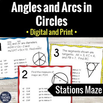 Angles and Arcs in Circles Stations Maze Activity