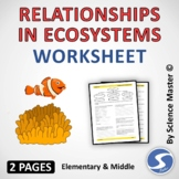 Relationships in Ecosystems Worksheet