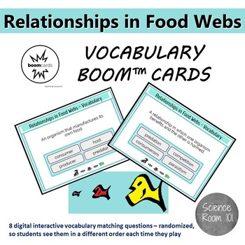 Relationships in Food Webs - Vocabulary Flash Cards w/ Boom Cards