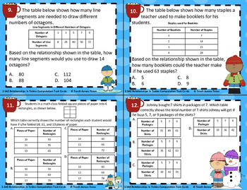 3.5E Relationships in Tables Computation Task Cards STAAR