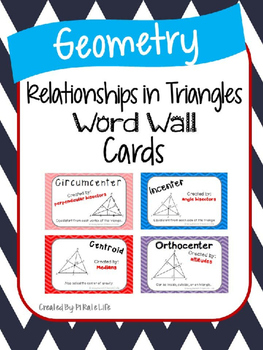 Relationships in Triangles Word Wall Cards