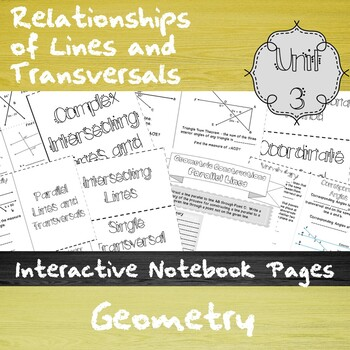 Relationships  of Lines and  Transversals - Unit 3 - HS Geometry - Notes