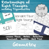 Relationships of Right Triangles, including Trigonometry -