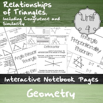 Relations. of Triangles, Including Congruence & Similarity-Unit 4-HS Geom. Notes