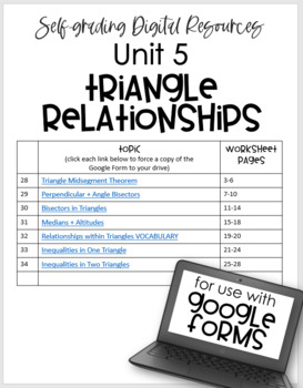 Relationships within Triangles- Digital Assignment BUNDLE for use with Google