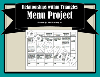Relationships within Triangles Menu Project