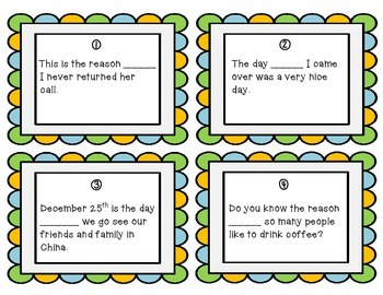 Relative Adverb Task Cards - Set of 20