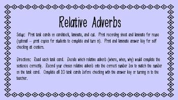 Relative Adverbs L.4.1a
