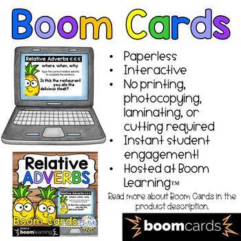 Relative Adverbs Boom Cards (Digital Task Cards) for Fourth Graders