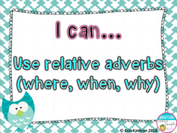 Relative Adverbs PowerPoint - Common Core Aligned