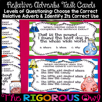 Relative Adverbs Task Cards