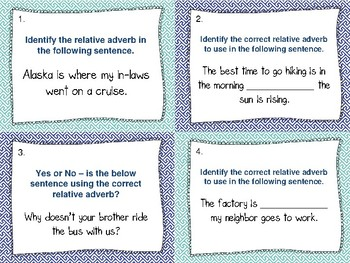 Relative Adverbs Task Cards (32) - Set 2 Common Core