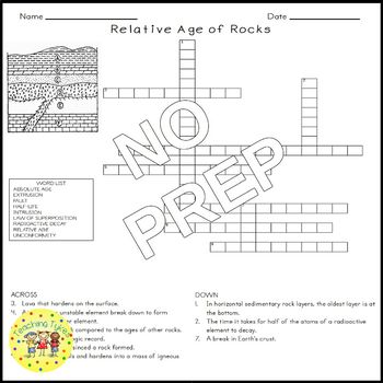 Relative Age of Rocks Science Crossword Puzzle Coloring Worksheet Middle School