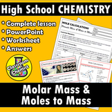 Stoichiometry - Molar Mass and Mole to Mass worksheet and
