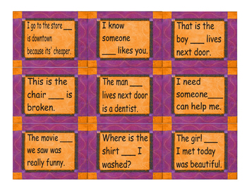 Relative Clause Cards
