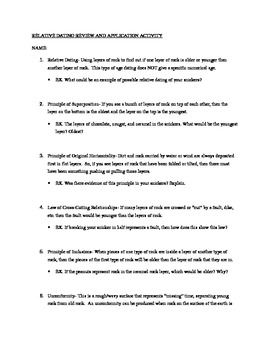 Relative dating worksheets elementary