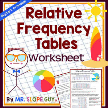 Two Way Relative Frequency Tables Worksheet by Mr Slope ...