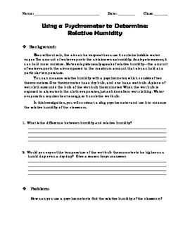 Relative Humidity - A Labratory Experiment