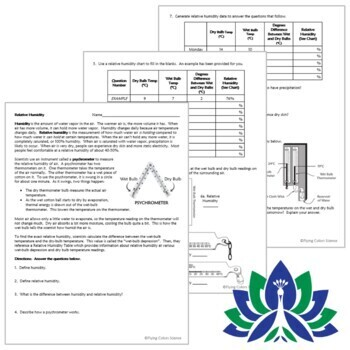 Relative Humidity Weather Worksheet NGSS MS-ESS2-5 MS-ESS2-4