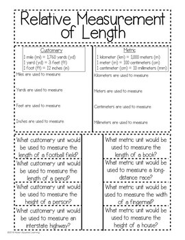 Relative Length Measurements Interactive Notebook & Quick Check TEKS 4.8A
