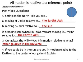Relative Motion: One Lesson to introduce relative motion and reference points