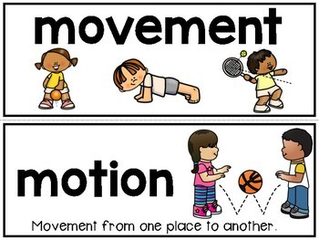 Relative Position and Motion vocabulary grade 2 Science