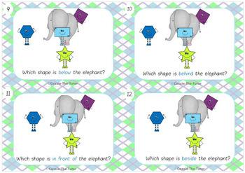 Relative Positions of Shapes Task Cards for Kindergarten