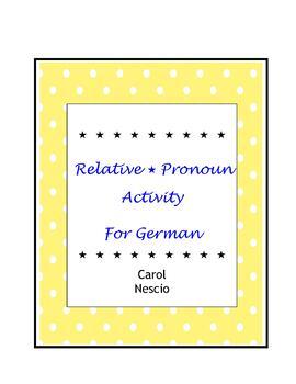 Relative Pronoun * Activity For German