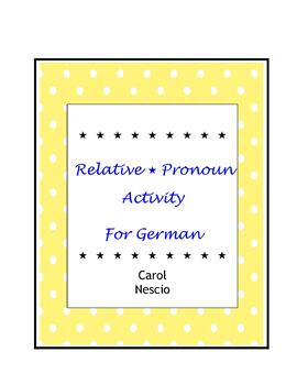 Relative Pronoun * Activity For German