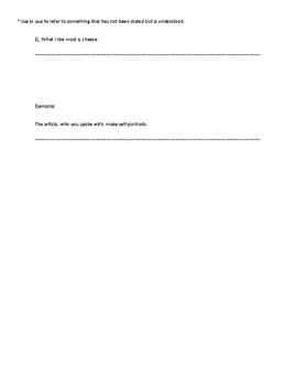 Relative Pronoun Notes