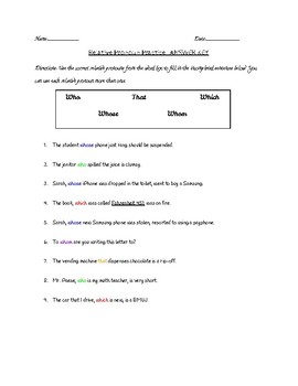 Relative Pronoun Practice With Answer Key