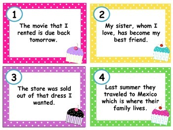Relative Pronoun Task Cards