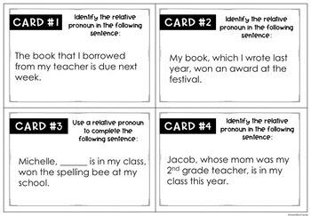 Relative Pronoun Task Cards