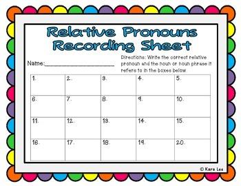 Relative Pronoun Task Cards - Set of 20
