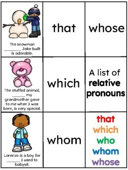 Relative Pronoun and Relative Adverb Memory Game