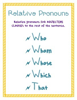Relative Pronoun poster
