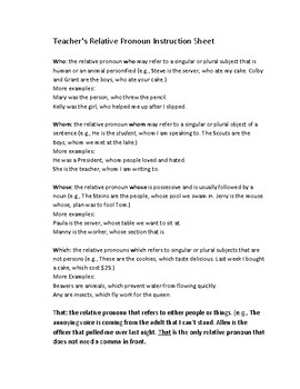 Relative Pronouns & Adverbs L.4.1a