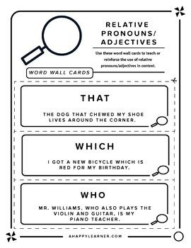 Relative Pronouns & Adverbs Word Wall Cards