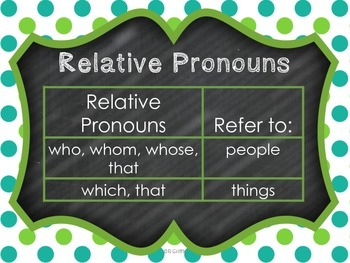 Relative Pronouns Common Core