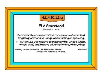 Relative Pronouns  ELA Standard 4.L.4.10.1.1.a