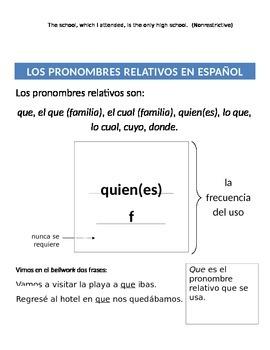 Relative Pronouns - Introductory notes page plus QUE vs QUIEN(ES)
