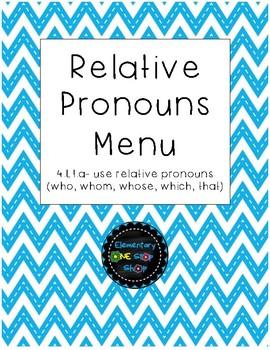 NO PREP Print & Go Relative Pronouns Menu